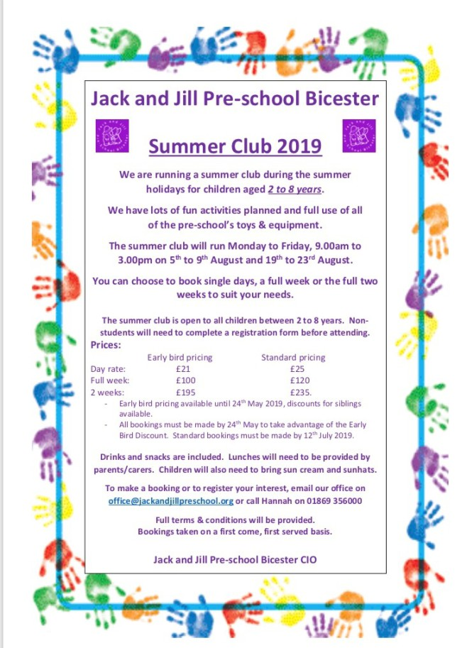 Jack and Jill Preschool - Summer Club 2019